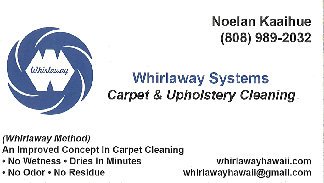 Business card for Noelan Kaaihue of Whirlaway Systems Carpet & Upholstery Cleaning