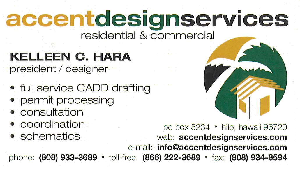 Business card for Kelleen C. Hara, President and Designer of Accent Designer Services in Hilo, Hawaii