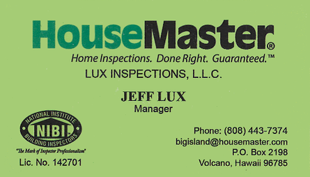 Business card for Jeff Lux of HouseMaster in Volcano, Hawaii