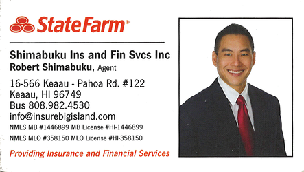 Business card for State Farm Agent, Robert Shimabuku in Keaau, Hawaii Big Island
