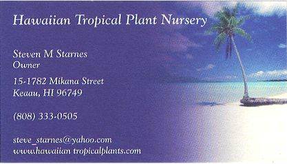 Business card for Steven M. Starnes, Owner of Hawaiian Tropical Plant Nursery