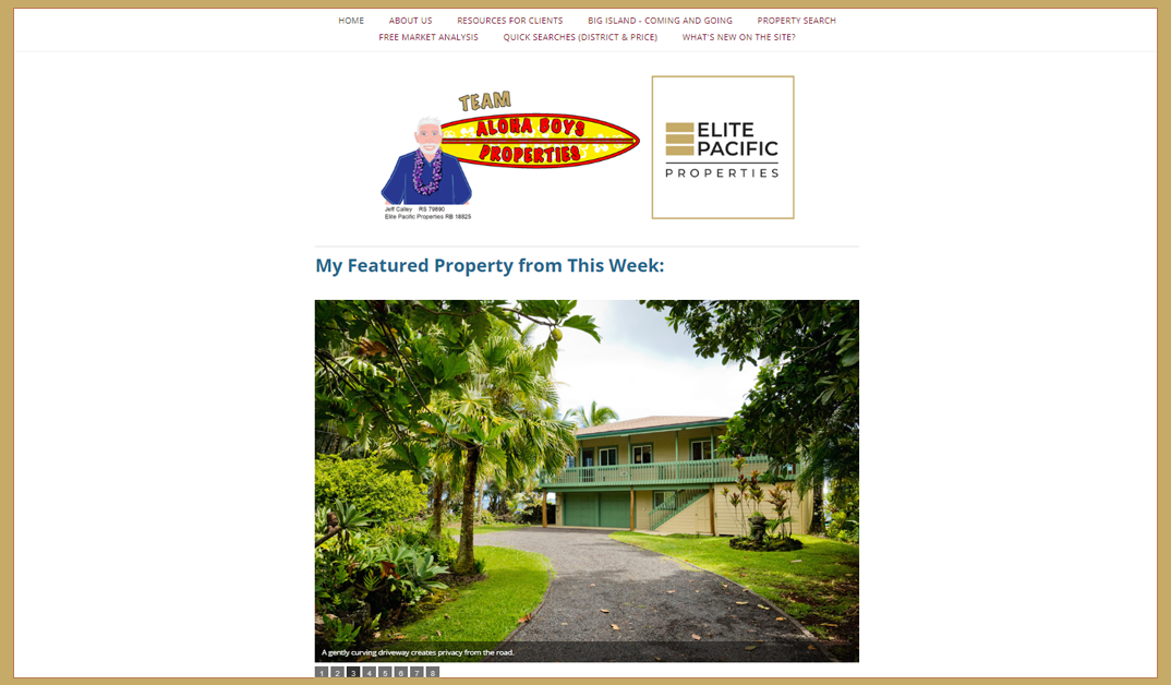 Homepage for AlohaBoysProperties.com, on behalf of Jeff Calley and Jason Larsen of Clark Realty
