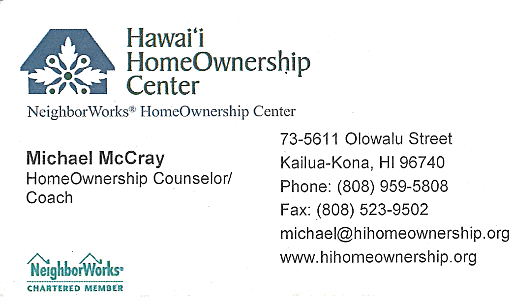 Business card for Michael McCray, HomeOwnership Counselor / Coach for HawaiI HomeOwnership Center in Kailua-Kona, Hawaii