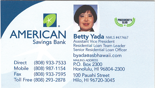 Business card for Betty Yada, Assistant Vice President for American Savings Bank in Hilo, Hawaii