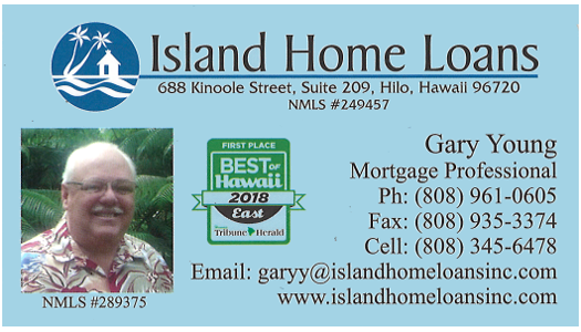 Business card for Gary Young, Mortgage Professional for Island Home Loans of Hilo, Hawaii