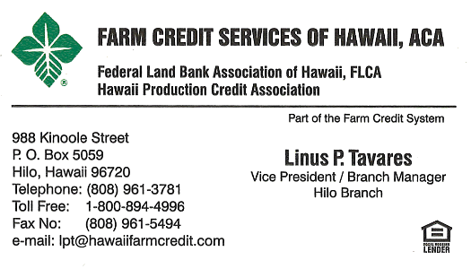 Business card for Vice President and Branch Manager, Linus P. Tavares of Farm Credit Services of Hawaii in Hilo, Hawaii