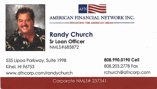 Business card for Randy Church, Sr. Loan Officer of American Financial Network