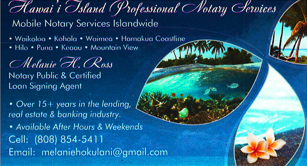 Business card for Melanie Ross of Hawaii island Professional Notary Services