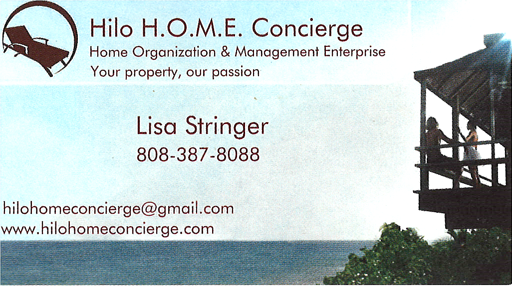 Business card for Lisa Stringer, of Hilo H.O.M.E. Concierge in Hilo, Hawaii