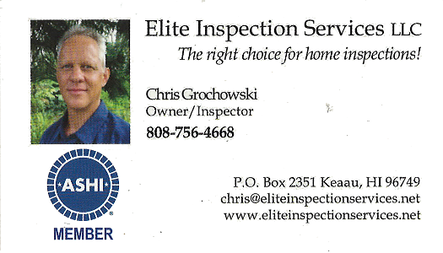 Business card for Chris Grochowski, Owner and Inspector for Elite Inspection Services LLC