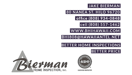 Business card for Jake Bierman of Bierman Home Inspection, Inc. of Hilo, Hawaii