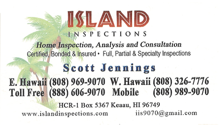 Business card for Scott Jennings of Island Inspections of Keaau, Hawaii