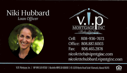 Business card for Niki Hubbard, Loand Officer of V.I.P. Mortgage Inc.