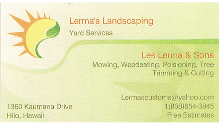 Business card for Les Lerma of Lerma's Landscaping in Hilo, Hawaii