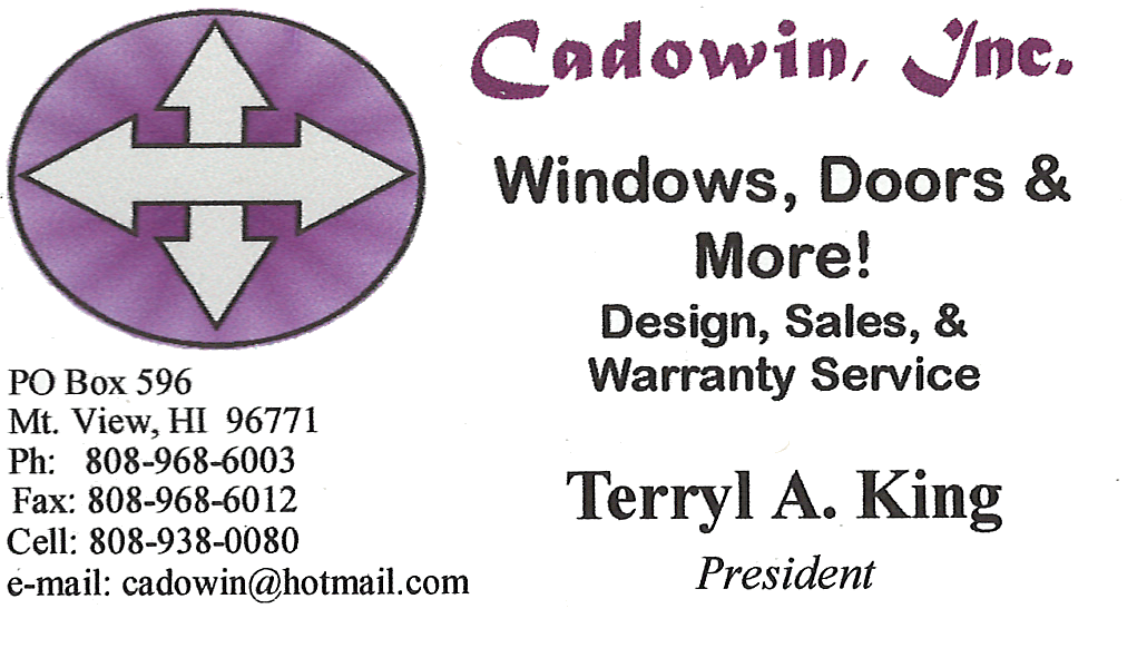 Business card for Terryl A. King, President of Cadowin, Inc. Windows, Doors, and More